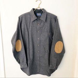 Pendleton Dark Gray Wool Elbow Patch Shirt